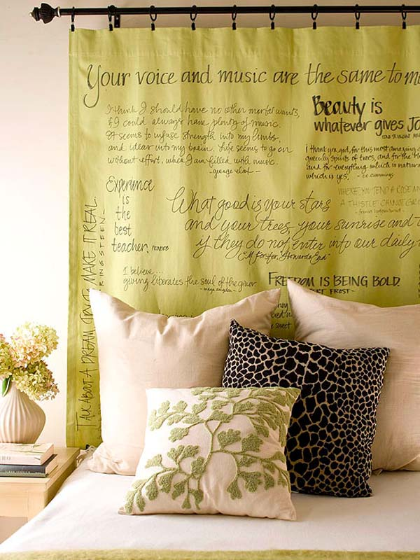 DIY headboard ideas - curtain panel headboard
