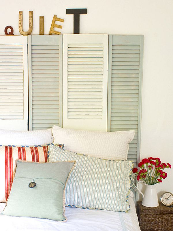 DIY headboard ideas - shutter headboard