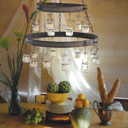 baby food jars made into a chic chandelier