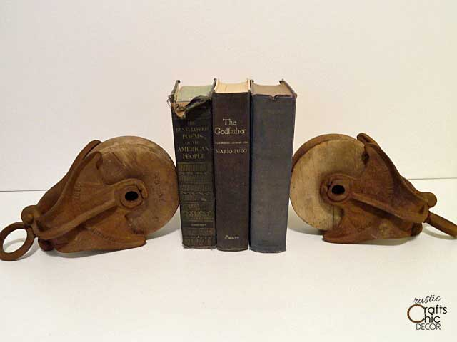 industrial pulley bookends