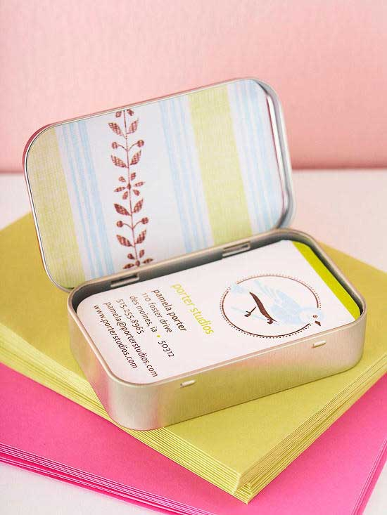 mint container business card holder