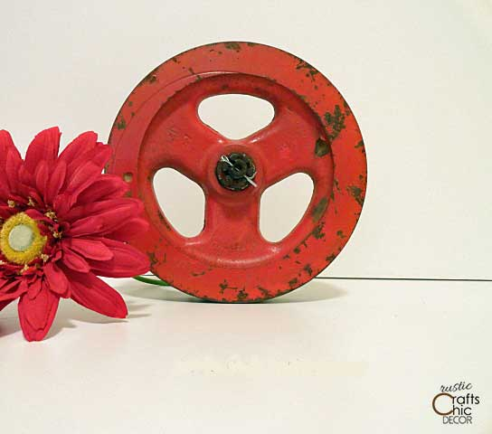 red industrial pulley
