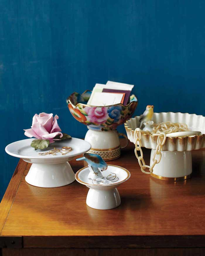 mismatched dishes turned into pedestal dishes