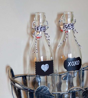 valentine crafts for adults - decorated glass water bottles
