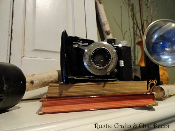 vintage camera on mantel