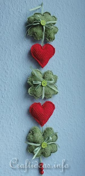 wash cloth shamrocks and hearts