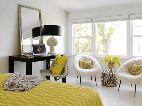 yellow bedroom accents