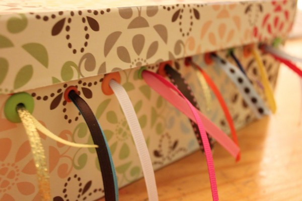 shoebox ribbon storage
