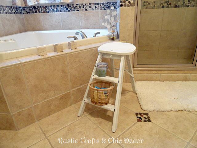 Fit Crafty Stylish And Happy Guest Bathroom Makeover: My Handy Step Ladder Bathroom Stool