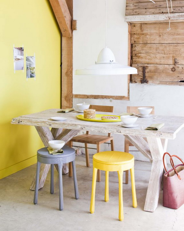 yellow with rustic touches