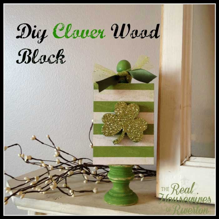 St. Patricks day crafts - DIY wooden clover block