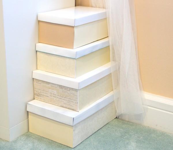 DIY storage using shoe boxes - painted shoe boxes