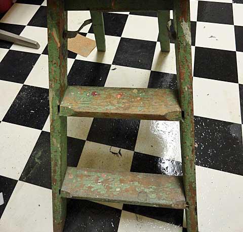old ladder for storage after sanding