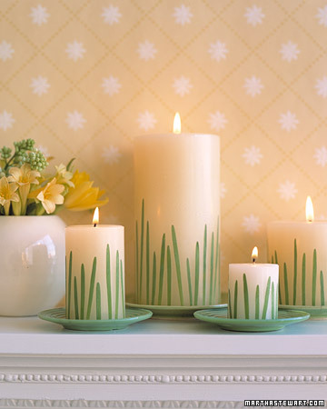 easter crafts - grass candles