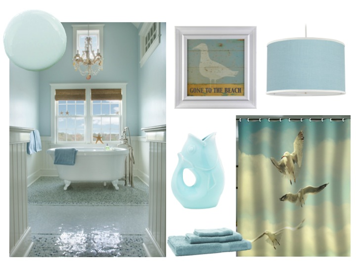 Decorating with coastal colors rustic crafts chic for Bathroom decor color schemes