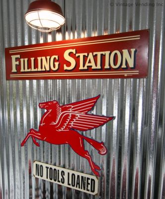 garage decorating idea - galvanized metal and vintage signs