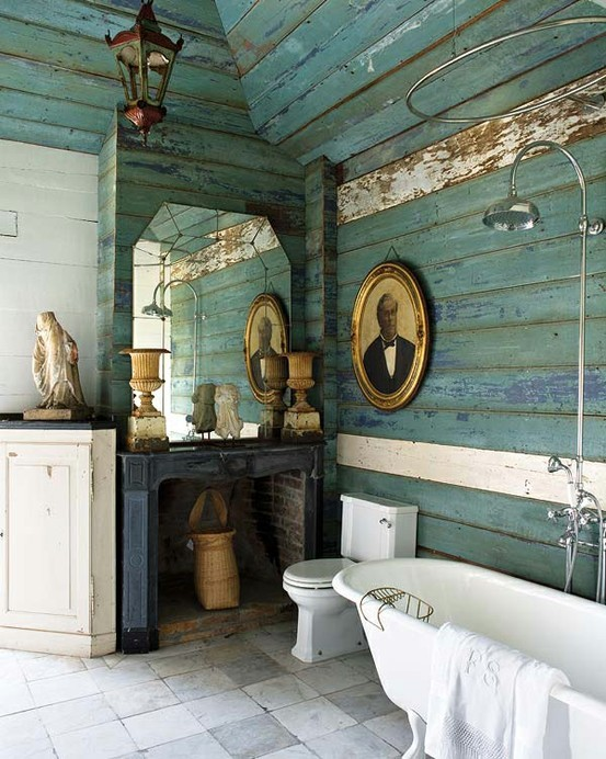 Pics Photos Vintage Rustic Blue Bathroom Country