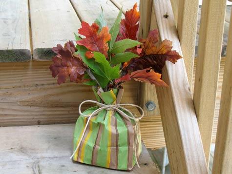 striped bag centerpiece craft