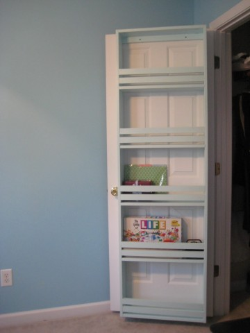 diy closet organization - inside closet door storage shelves