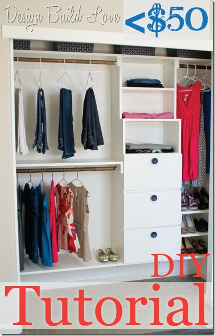 diy closet organization - add more rods and drawers