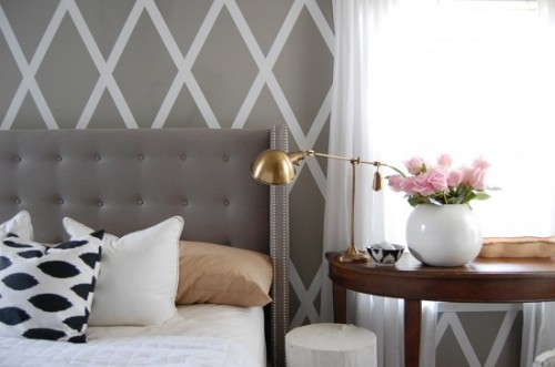 Painting a pattern on a wall rustic crafts chic decor for Duct tape bedroom ideas