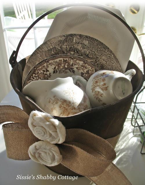 decorative rusty bucket