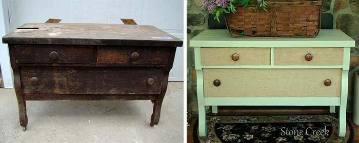 creative dresser makeovers - burlap and paint