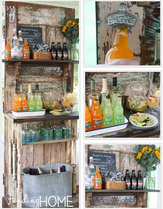 rustic outdoor decor ideas - upcycled outdoor beverage station