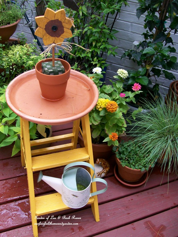 ladder birdbath