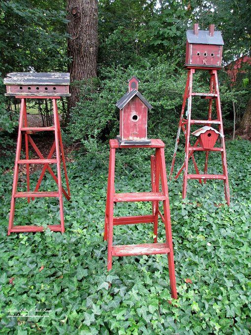 ladder birdhouse stands