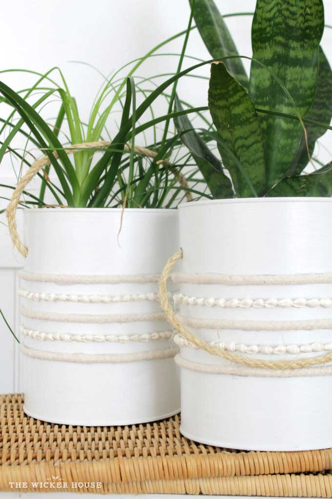 repurposed diy projects - recycled can planter