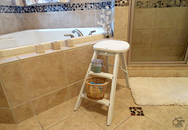 decorating with ladders - bathroom storage shelves