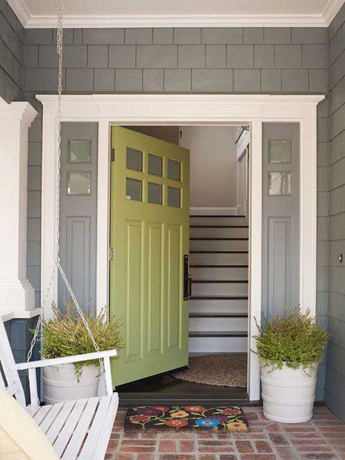 painted front doors - green
