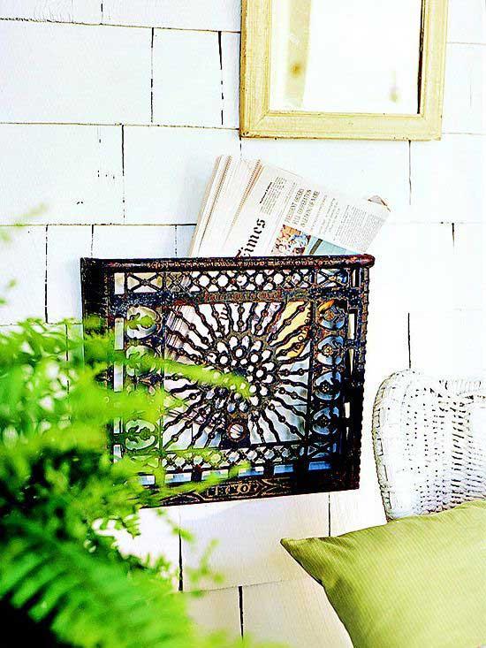 repurposed diy projects - heat register newspaper holder