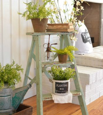 decorating with ladders - plant stand
