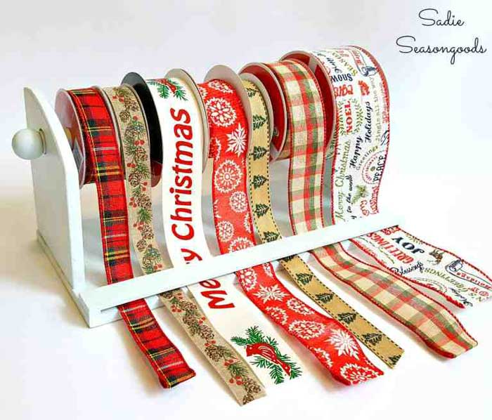 creative ways to get organized - ribbon storage