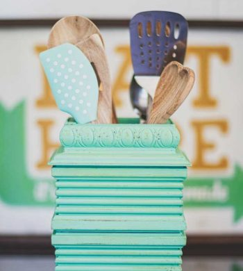 repurposed diy projects - scrap trim utensil holder