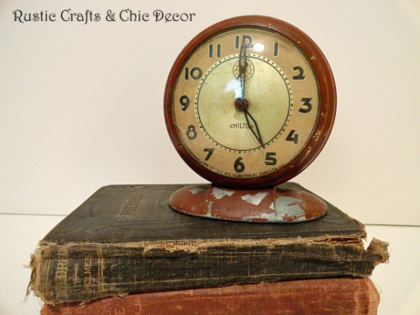 decorating with clocks and books by rustic-crafts.com