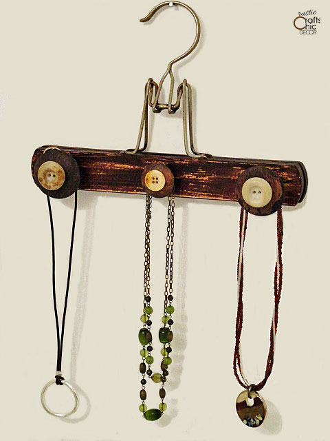 wooden hanger crafts - jewelry holder