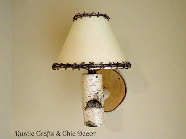 top rustic crafts - diy birch sconce by rustic-crafts.com