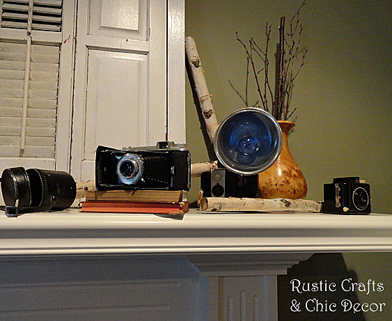 decorating with vintage cameras by rustic-crafts.com
