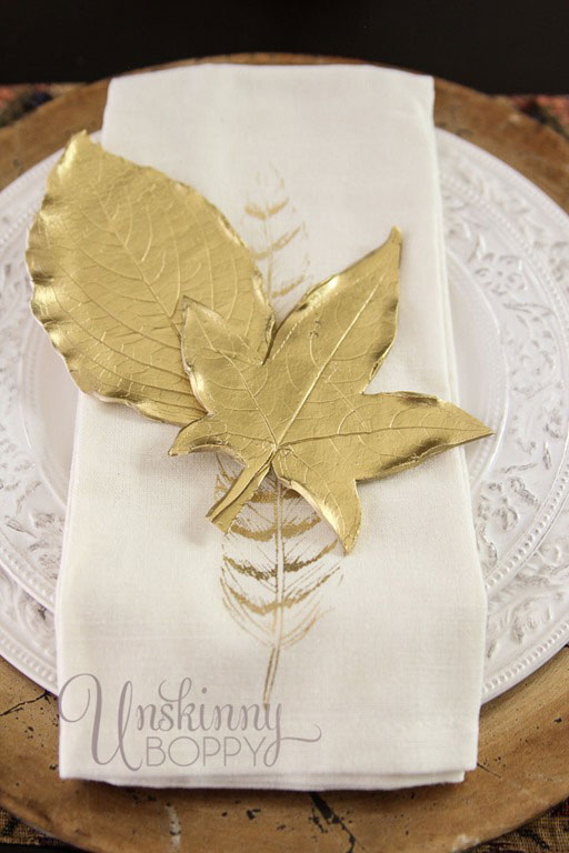 gold leaves made from clay