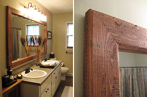 simple rustic bathroom mirror ideas wood modern home decor for