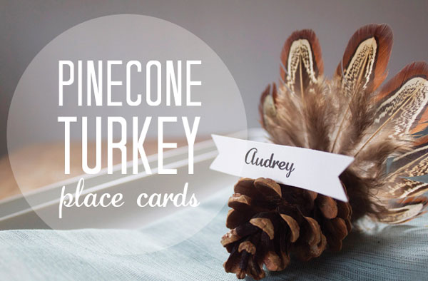 pinecone turkey place card craft
