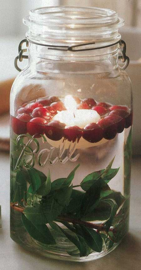 Christmas cranberry mason jar