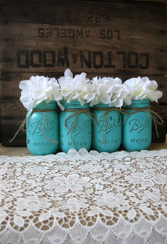 crate and mason jar decor