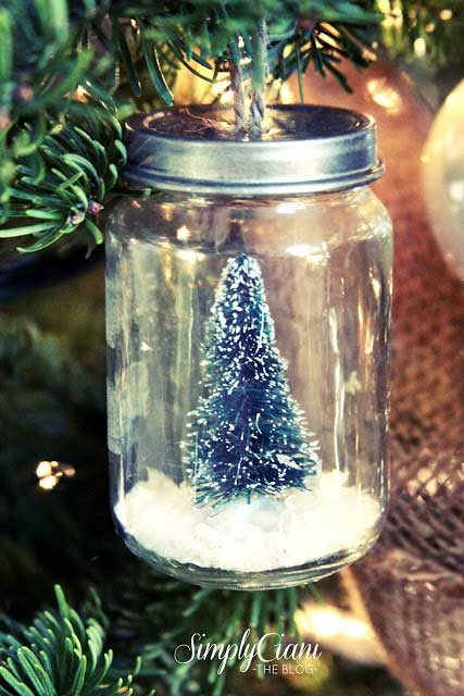 mason jar snow globe ornament