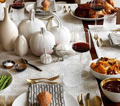 white Thanksgiving table