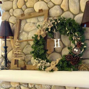 Christmas mantel decor by rustic-crafts.com
