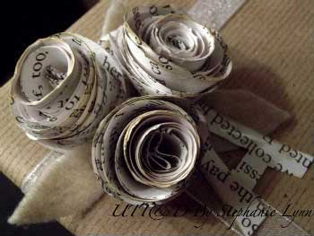 book page flower gift toppers